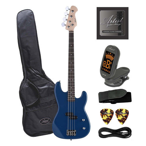 Artist PB2 Blue Electric Bass Guitar with Accessories