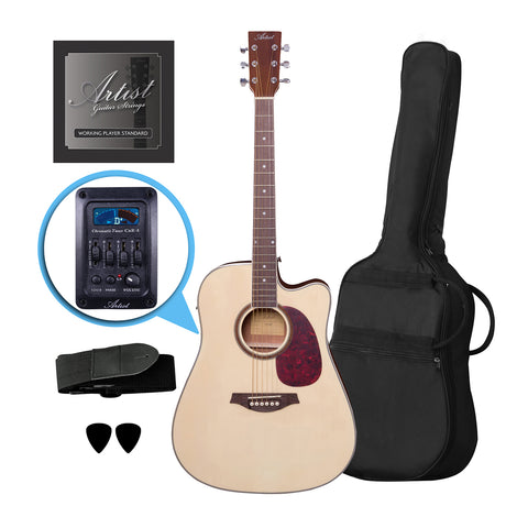 Artist LSPCEQNT Beginner Acoustic Electric Guitar Pack with EQ - Natural