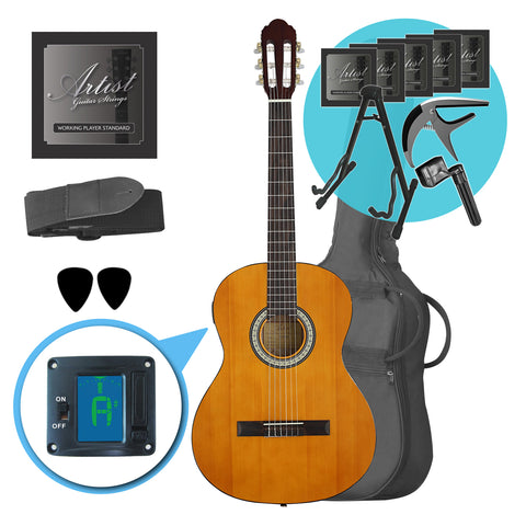 Artist CL44SPKAM Ultimate Beginner Classical Guitar Pack