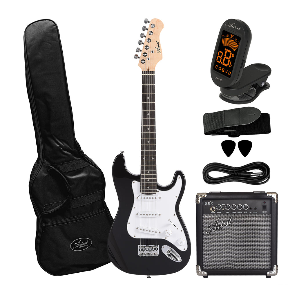 Artist ST34 Black 3/4 Size Electric Guitar Plus Accessories with Amp