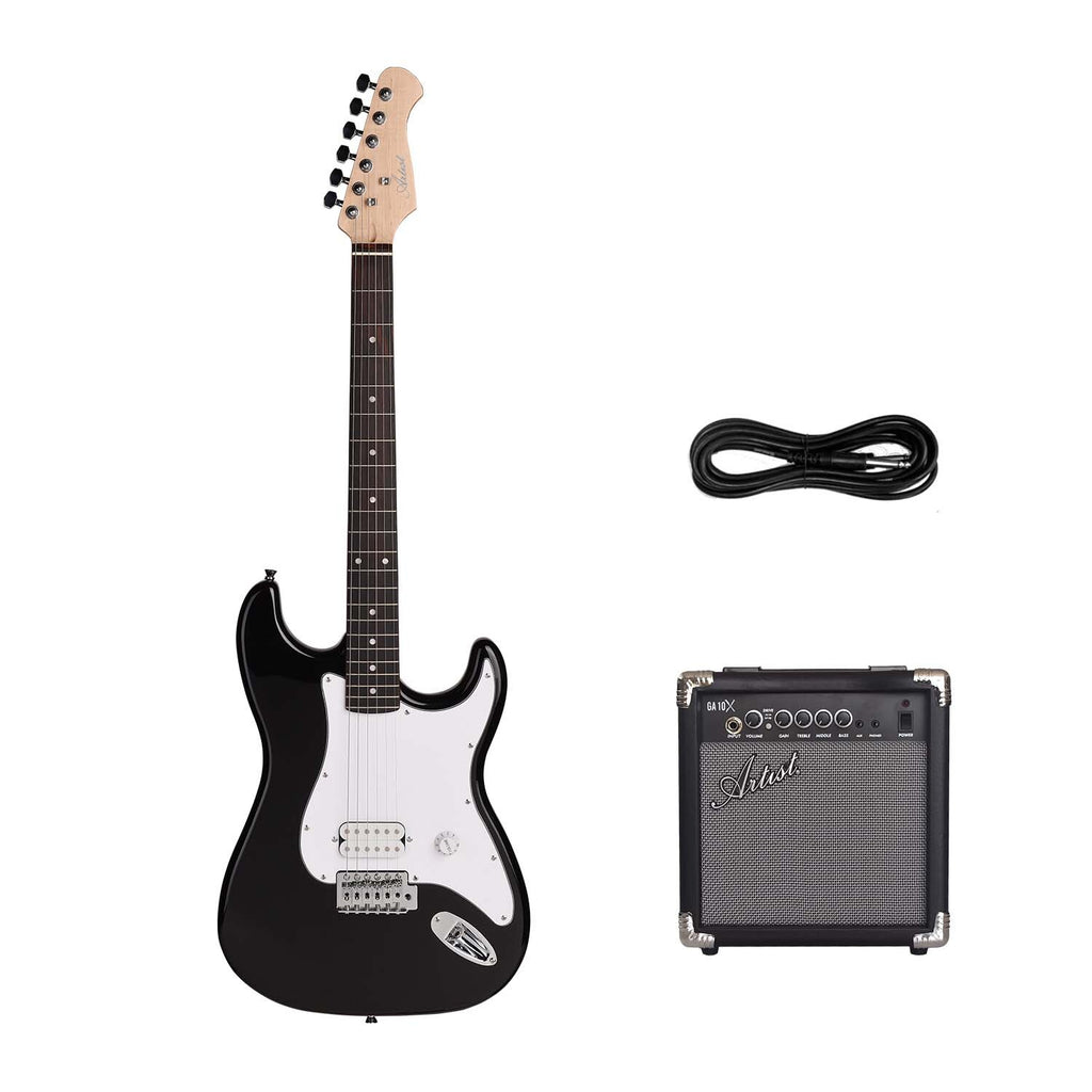 Artist EB2 Budget ST Style Electric Guitar - Black + 10 Watt Amp