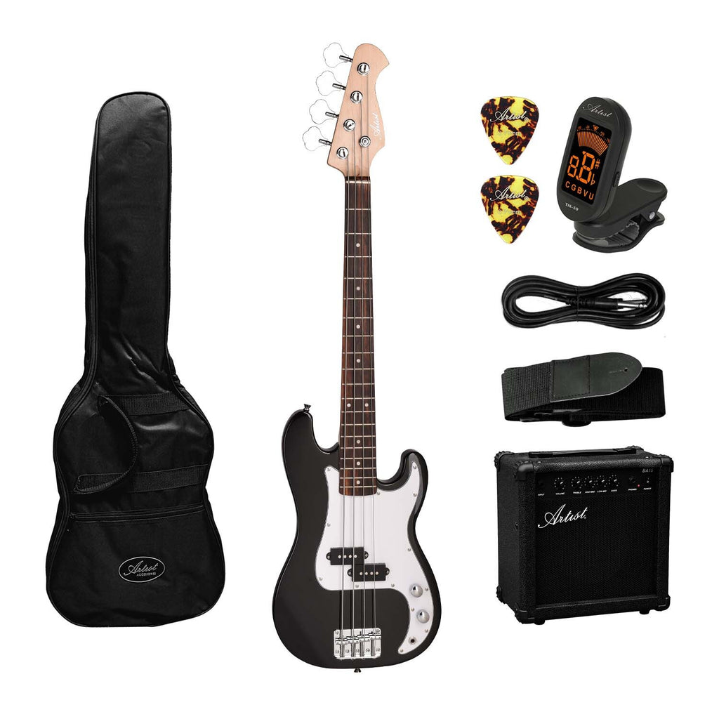 Artist MiniP 3/4 Size  Electric Bass Guitar + Amp and Accessories
