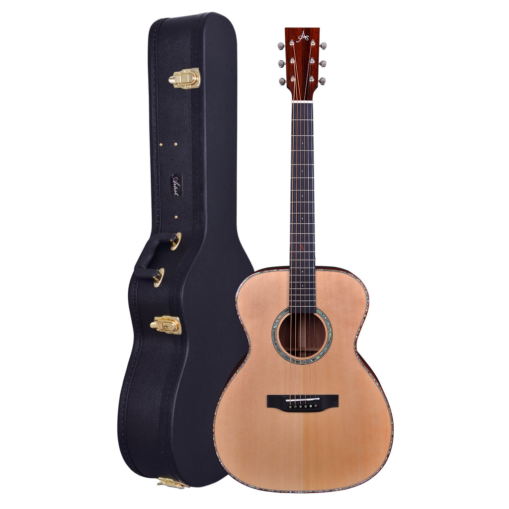 Artist OMS10EQ Solid Wood OM Size Acoustic Guitar + EQ + Case
