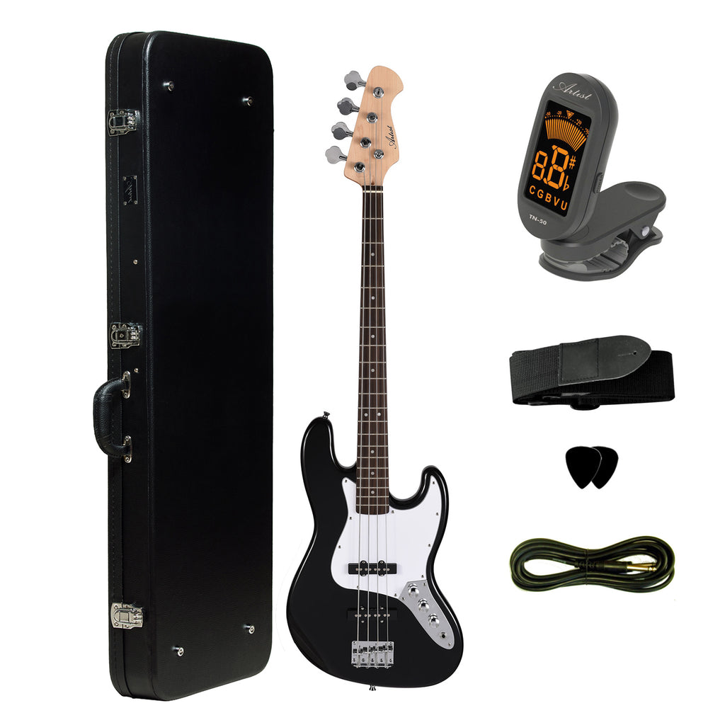 Artist JB2 Black Electric Bass Guitar Plus Accessories + Black Case