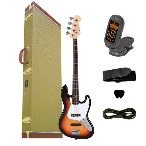 Artist JB2 Sunburst Electric Bass Guitar Plus Accessories with Tweed Case