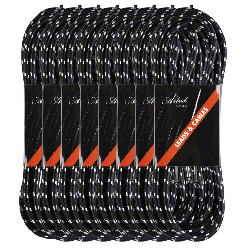 Artist FB15 15ft (4.5m) Fat Boy Braided Guitar Cable/Lead 8 pack
