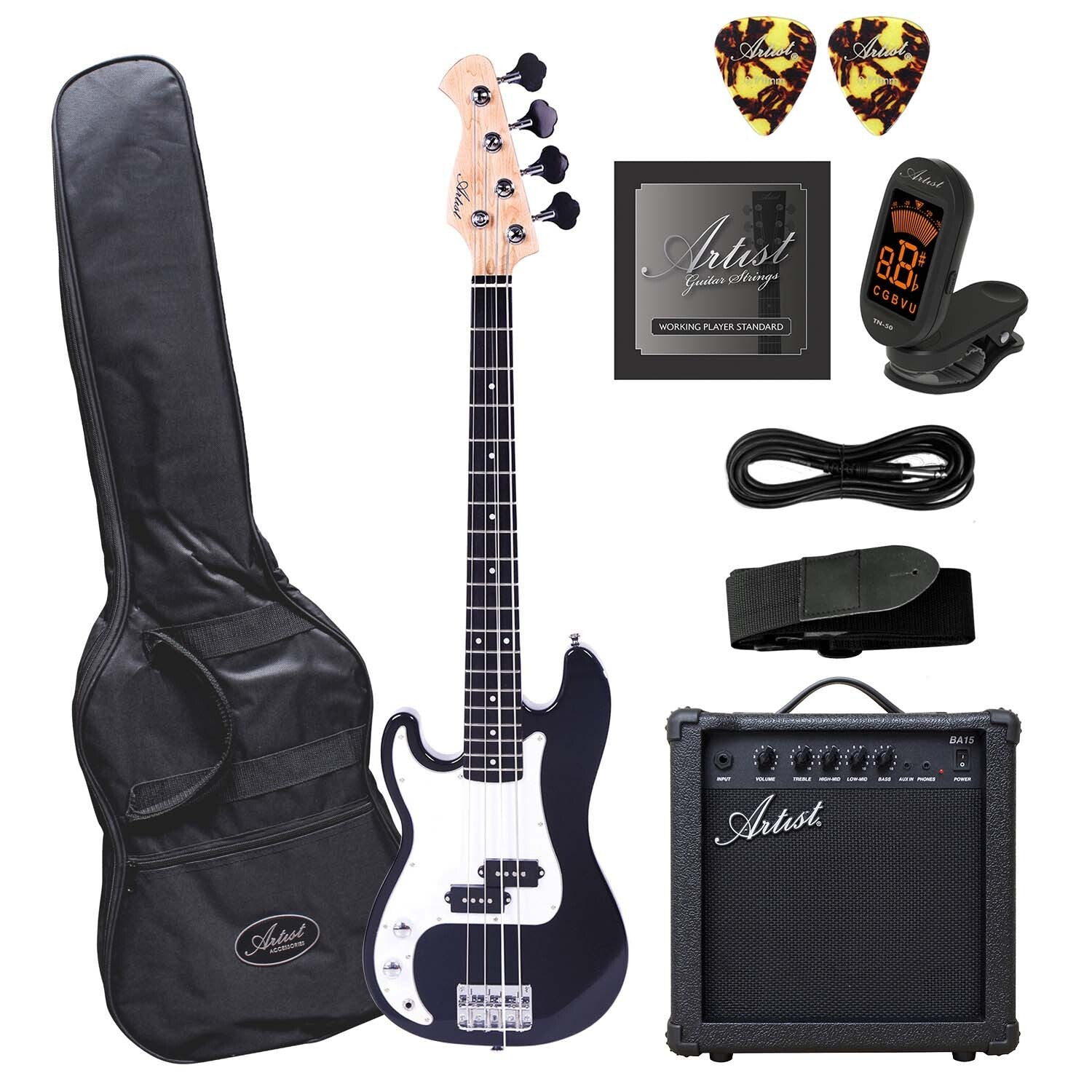 Artist MiniP Plus Left Handed 3/4 Bass Guitar with Accessories + Amp