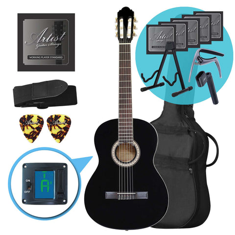 Artist CL44BK Full Size Classical Guitar Ultimate Pack - Black