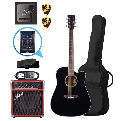 Artist LSPCEQBK Acoustic Guitar Pack with EQ + AC20 Amp and Lead