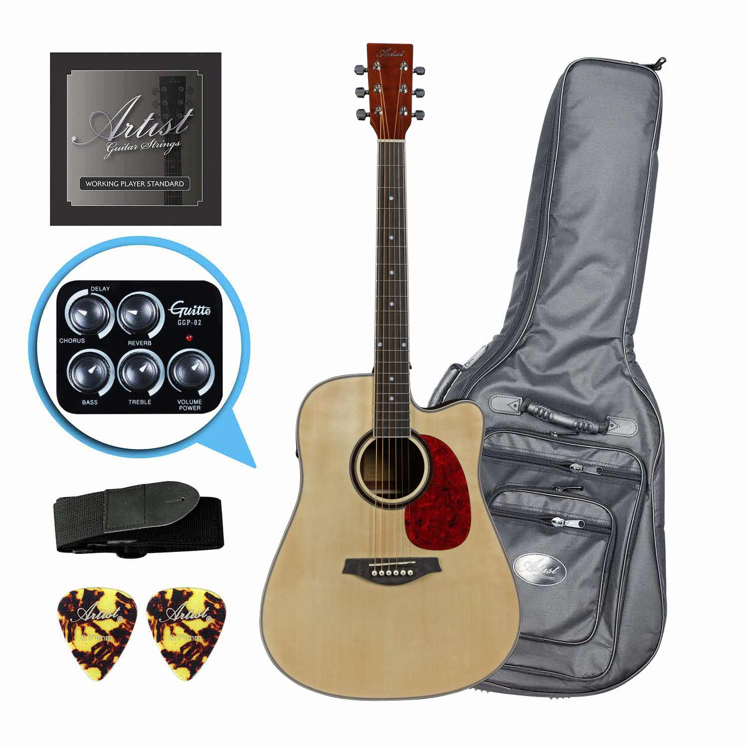 Artist LSPFXNT Acoustic-Electric Guitar w/ FX and speaker + HG Bag