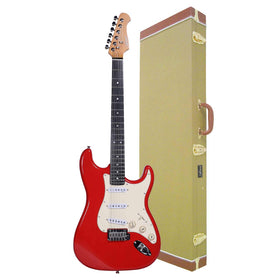 Artist ST62FR Fiesta Red Electric Guitar with Tweed Case