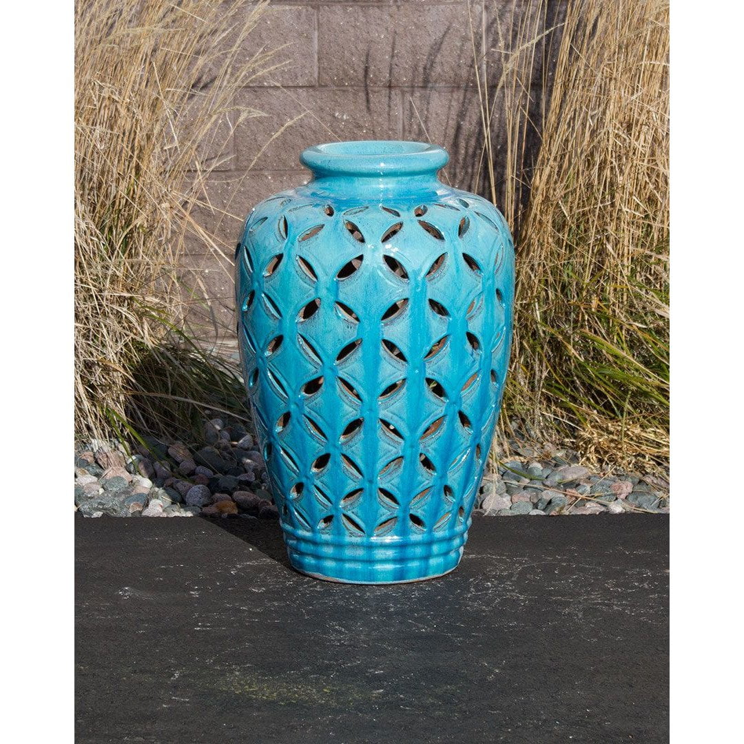 Turquoise Patterned Closed Top Single Vase Complete Fountain Kit Majestic Fountains