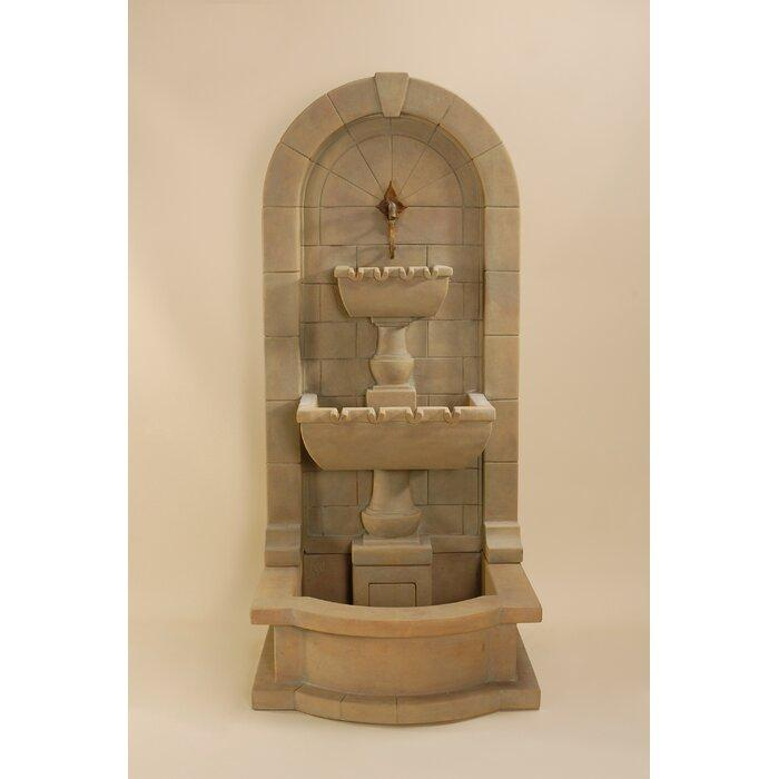 Giannini Garden Monterosso Concrete Outdoor Wall Fountain With Pond Majestic Fountains