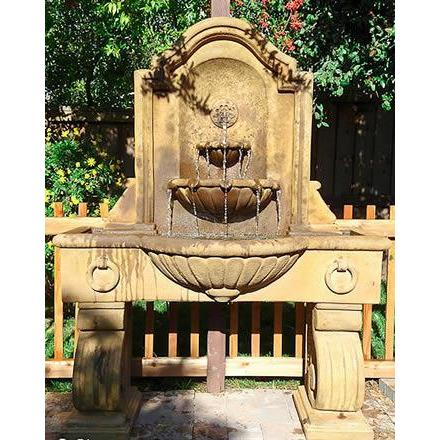Giannini Garden Anduze Concrete Outdoor Garden Wall Fountain With 3 Ba Majestic Fountains