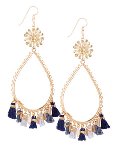 Garden of Eden Flower Tassel Earrings - Denim Mix