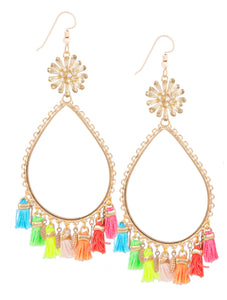 Garden of Eden Flower Tassel Earrings - Neon