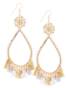 Garden of Eden Flower Tassel Earrings - Gold Metallic