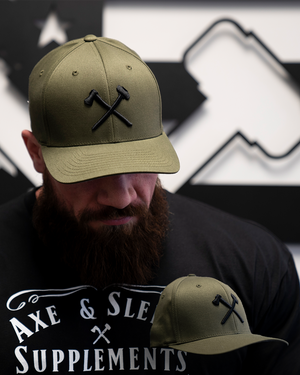 Axe & Sledge Hat // Black on Olive