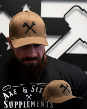 Axe & Sledge Hat // Black on Coyote Brown