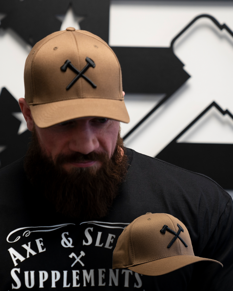 Black on Coyote Brown Logo Hat