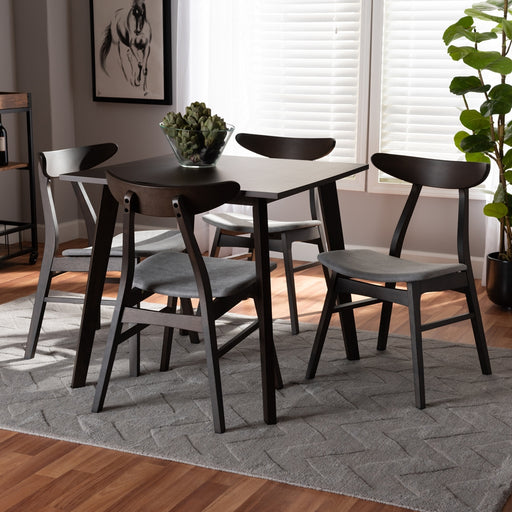 BAXTON STUDIO BRITTE MID-CENTURY MODERN LIGHT GREY FABRIC UPHOLSTERED DARK OAK BROWN FINISHED 5-PIECE WOOD DINING SET