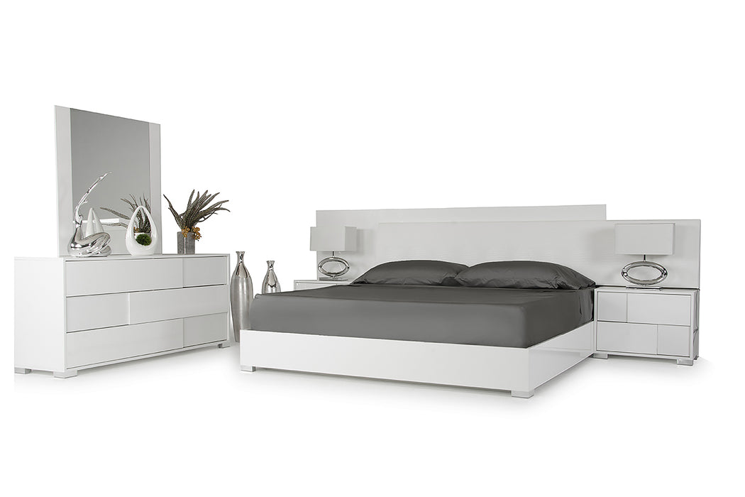 White And Steel Queen Bed