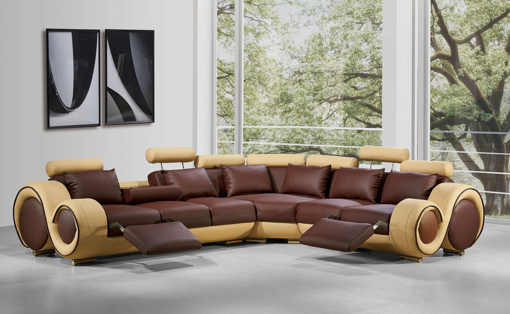 Bonded Leather And Wood Sectional Sofa