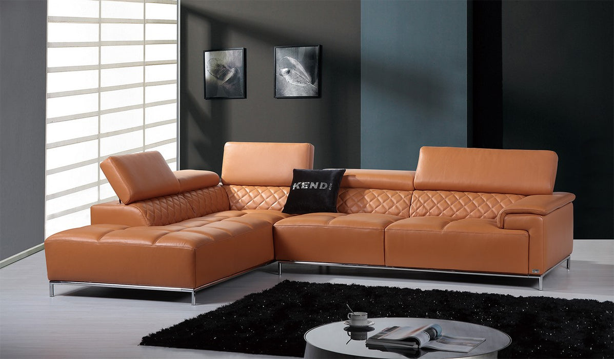 "36"" Orange Leather, Foam, Metal, And Wood Sectional Sofa"