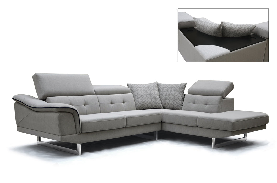 Grey Fabric, Foam, Wood, And Steel Sectional Sofa