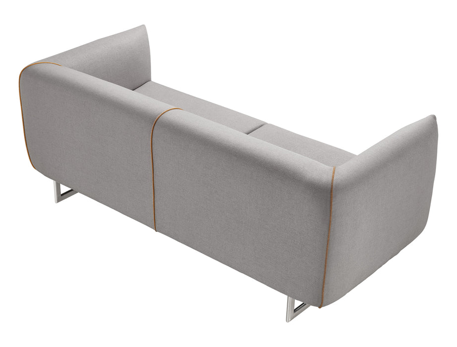 Grey And Yellow Fabric Foam, Metal, And Wood Sofa Set