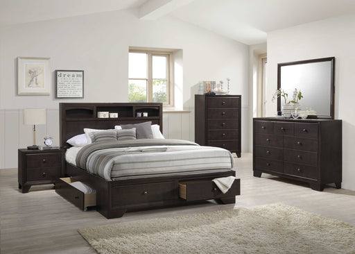 King Espresso Rubber Wood Bed With Storage