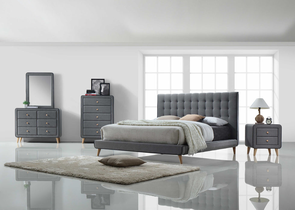 Queen Light Gray Fabric Bed