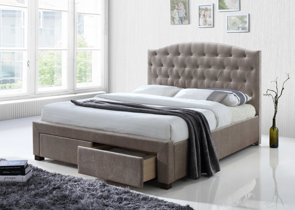 Queen Mink Fabric Bed With Storage