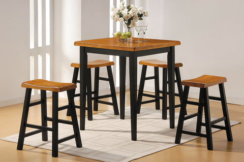 5pc Oak & Black Rubber Wood Counter Height Set