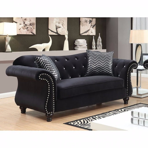 Glamorous Traditional Style Love Seat, Black