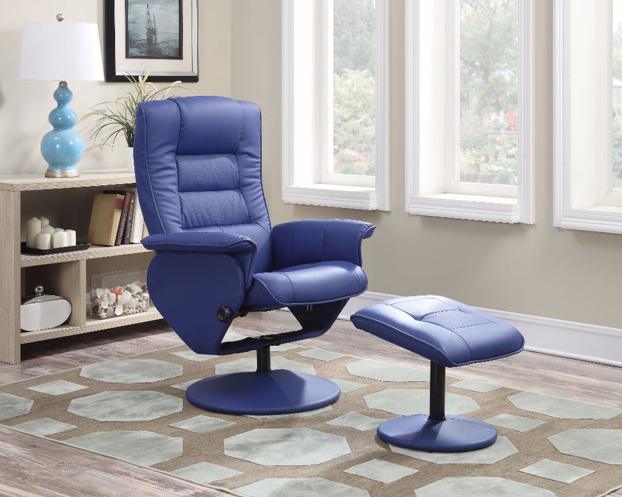 Recliner Chair & Ottoman, 2 Piece Pack, Blue/Red
