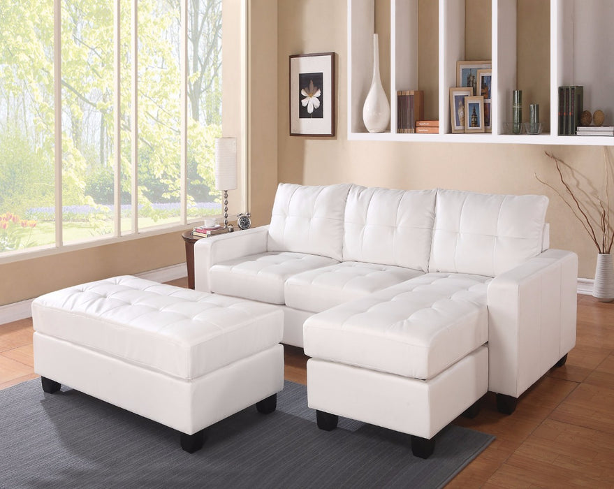 Trendy Sectional Sofa With Ottoman, 3 Piece Set, White