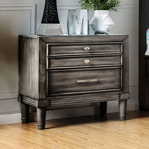 Finely Designed Wooden Night Stand With Drawers, Gray