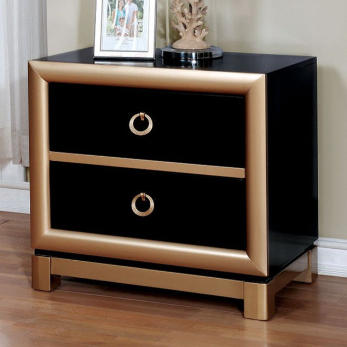 Wooden Nightstand With 2 Drawers , Black And Gold