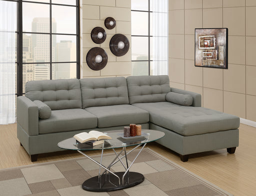 Poly fiber Linen Fabric Sectional Sofa In Gray
