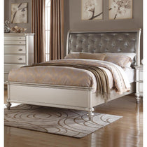 Wooden C.King Bed With Silver PU Tufted Headboard