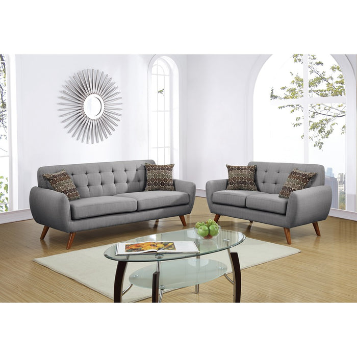 Polyfiber 2 Piece Sofa Set With Cushion Seats In Gray