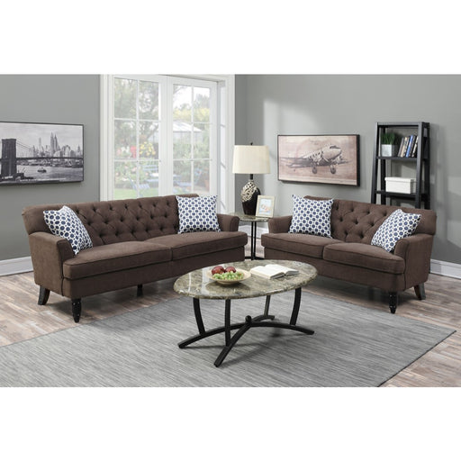 Velveteen 2 Pieces Sofa Set In Dark Brown