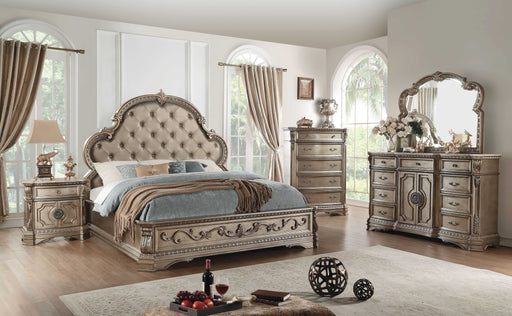 Eastern King Antique Champagne Bed