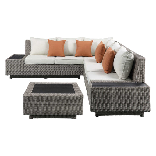 Beige Fabric And Gray Wicker Patio Sectional And Cocktail Table