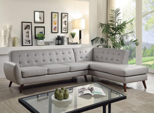 Gray Leatherette Sectional Sofa