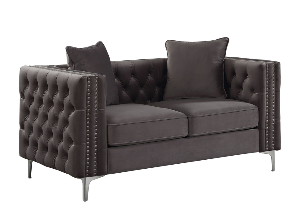 Dark Gray Velvet Love Seat