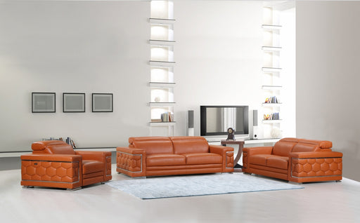 Sturdy Camel Leather Sofa Set
