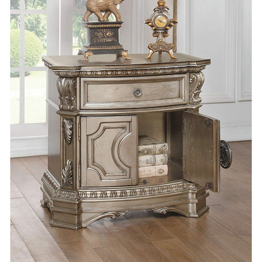 Wood Top Night Stand With One Drawer And Two Door Shelf, Antique Champagne
