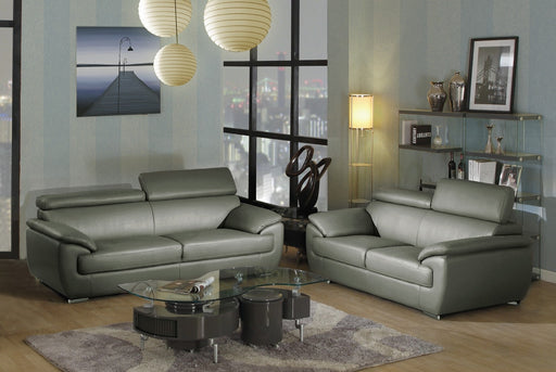 Modern Gray Leather Sofa And Love Seat